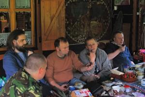 Wojtek, głowa Krzysia, Klaudiusz, Janek i Piotr